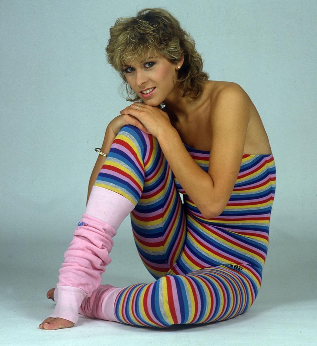 Sharron Davies swimmer modelling clothes 1980s Leg Warmers