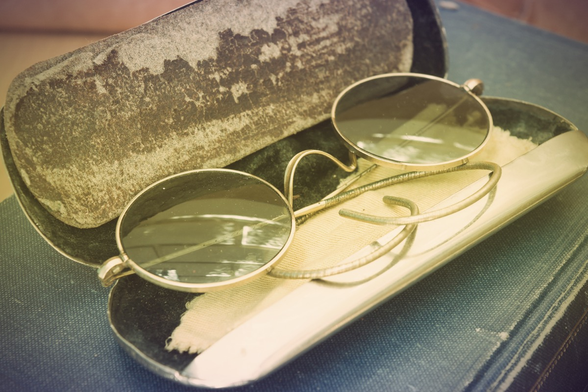 Vintage photo with old John Lennon glasses - Image
