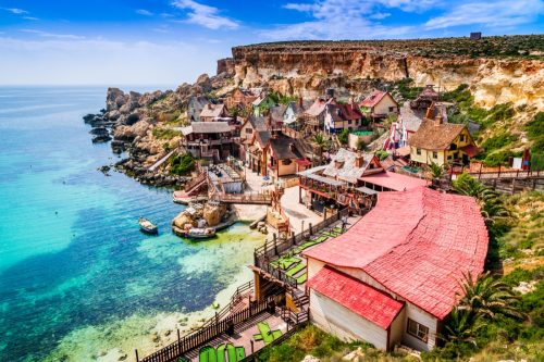 Malta, Il-Mellieha. View of the famous village Mellieha and bay on a sunny day - Image