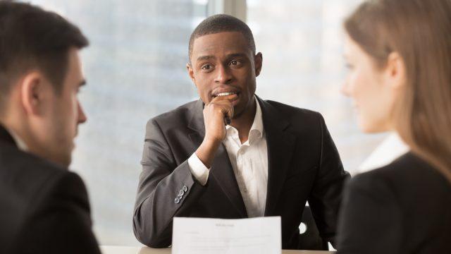 Man at job interview