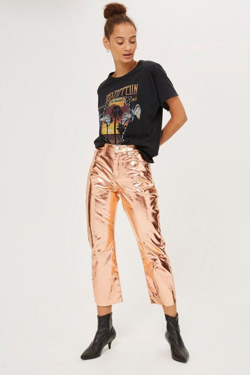 metallic pants - topshop
