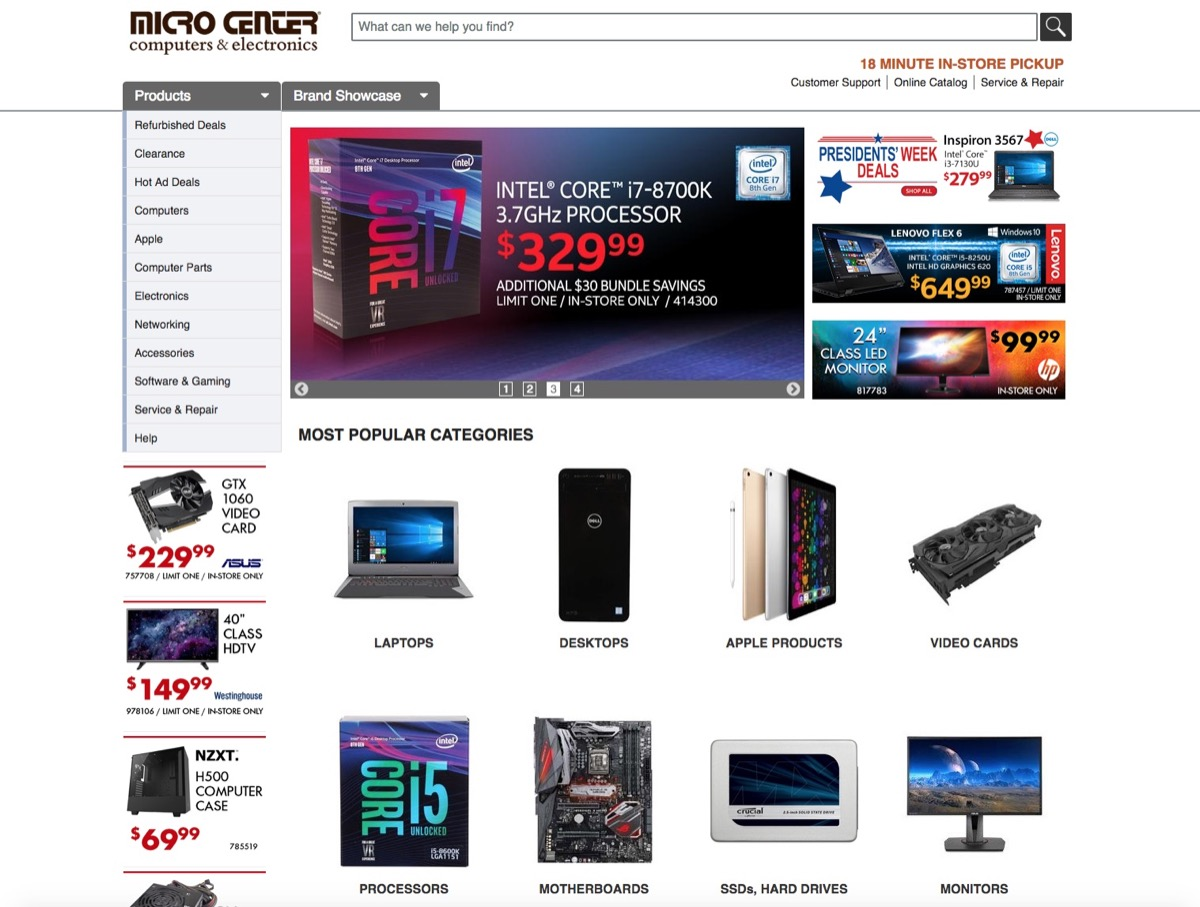 Screenshot of Micro Center {Save Money on Electronics}