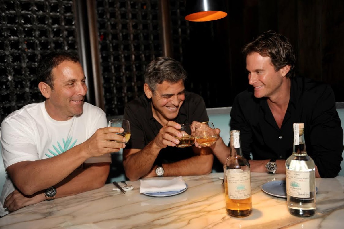mike meldman george clooney and rande gerber drinking casamigos tequila