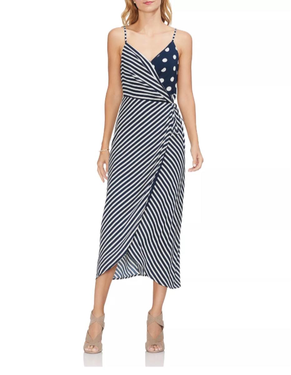 mixed print dot dress