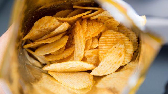open ruffle potato chip bag