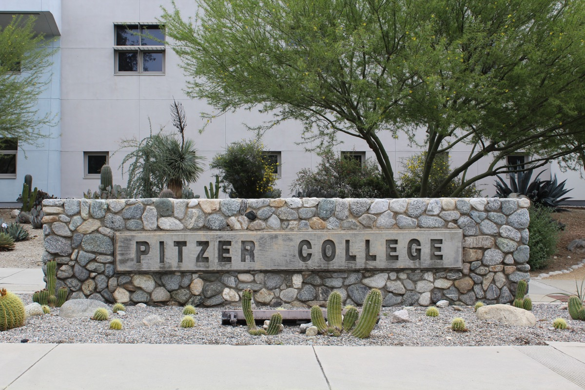 Claremont, CA/USA: March 21, 2017 –Entrance sign at Pitzer College one of the seven schools known collectively as the Claremont Colleges. The coed private college is 35 miles east of Los Angeles. - Image