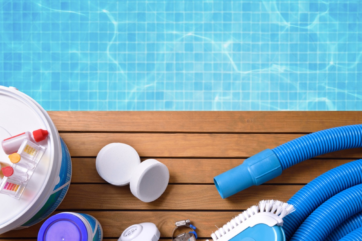 swimming pool and cleaning supplies, backyard dangers
