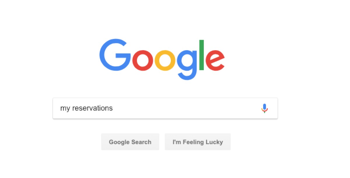 google reservations search - google tricks