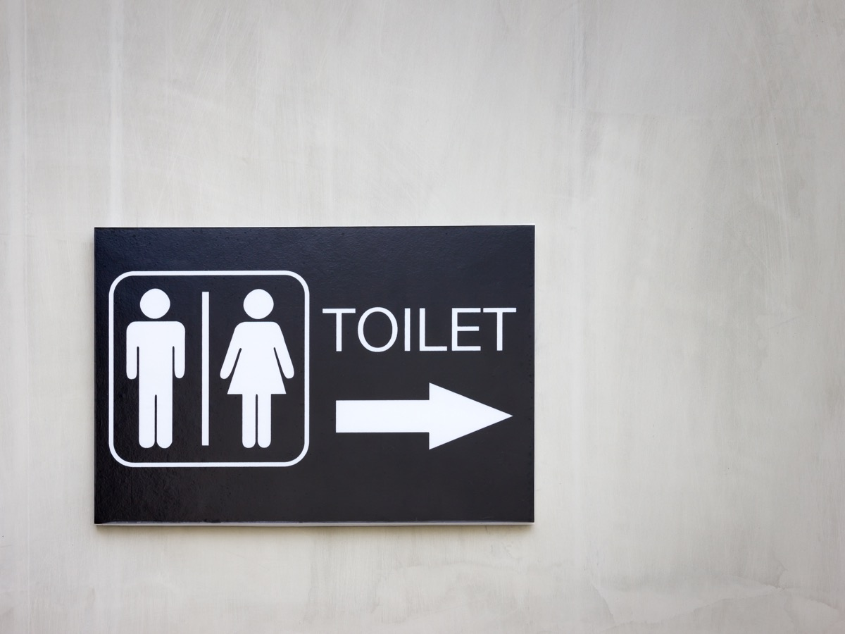 modern public toilet sign on the cement wall - Image