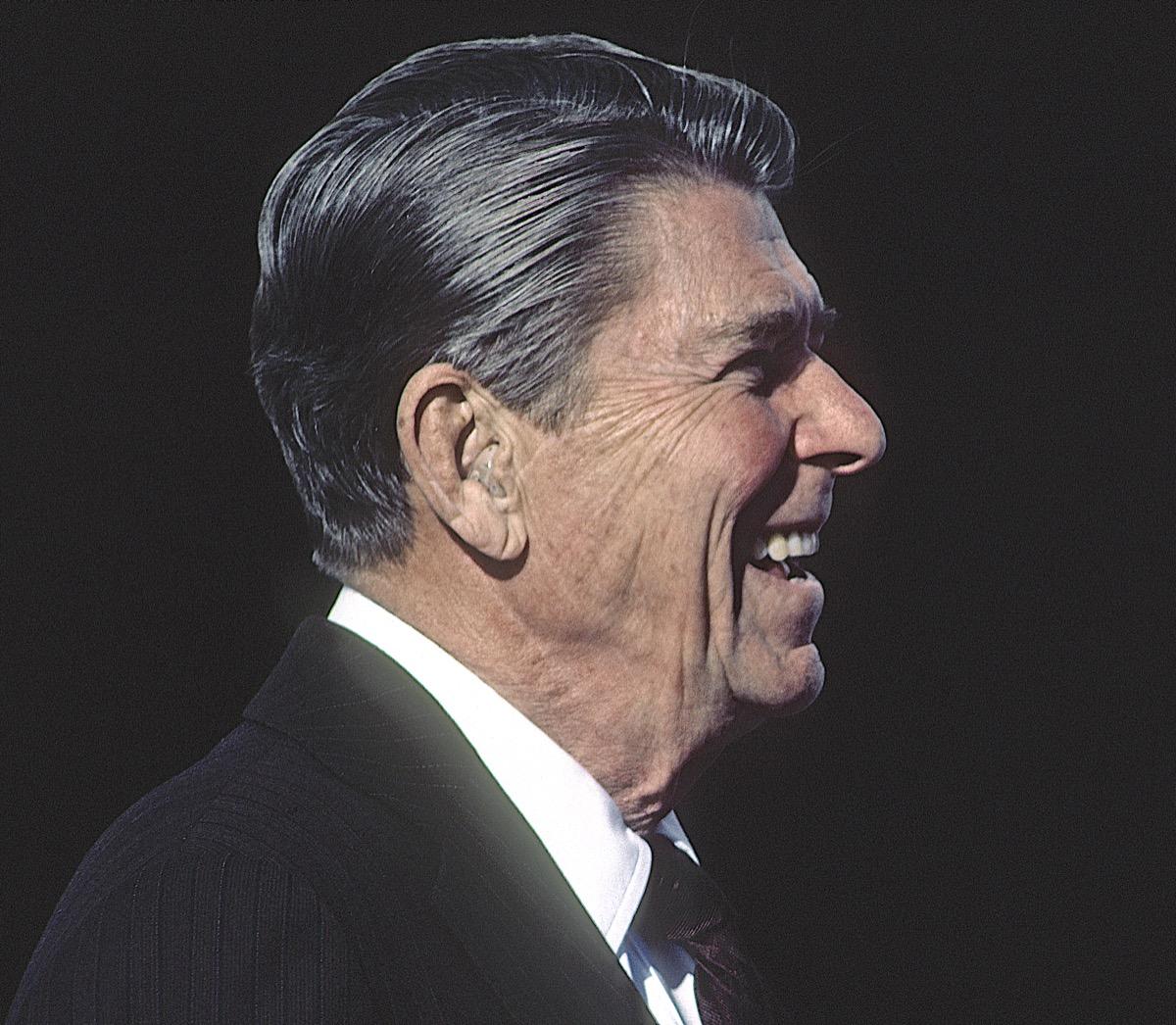 Ronald Reagan wearing hearing aids