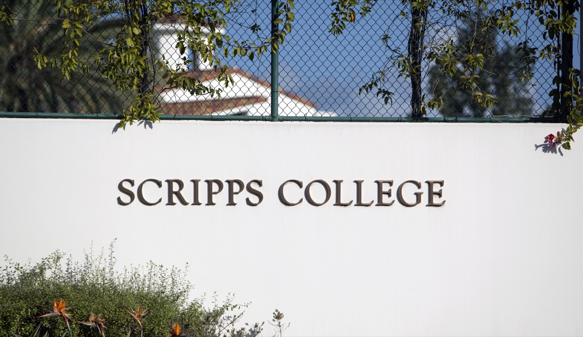 Claremont, CA, USA - April 17, 2017: The sign welcoming visitors to Scripps College which is one of the 5 Claremont Colleges and is a women only liberal arts college. - Image