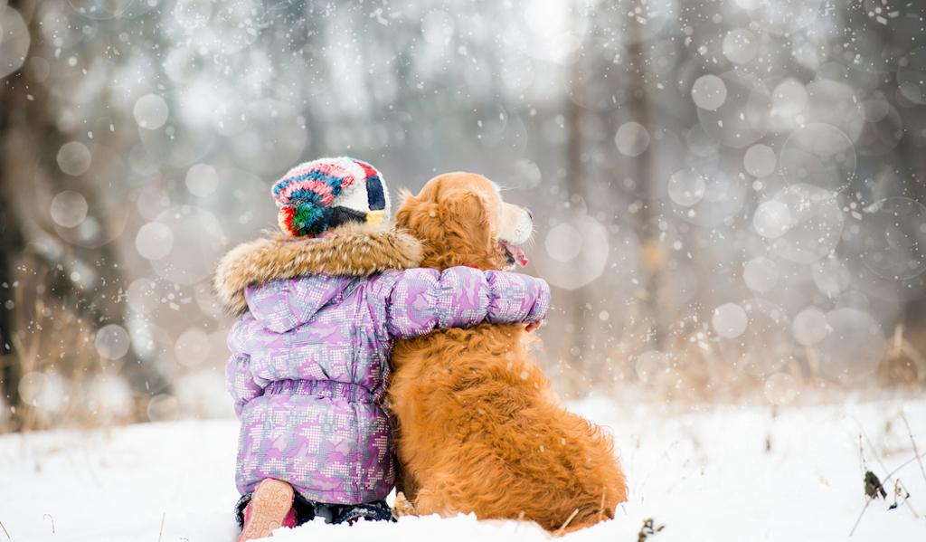 little girl hugging dog in winter, skills parents should teach kids