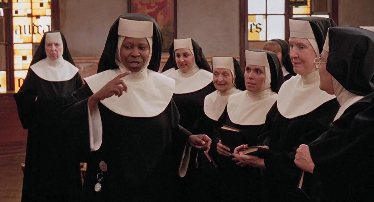 Whoopi Goldberg, Kathy Najimy, Ellen Albertini Dow, Edith Diaz, and Mary Wickes in Sister Act (1992)