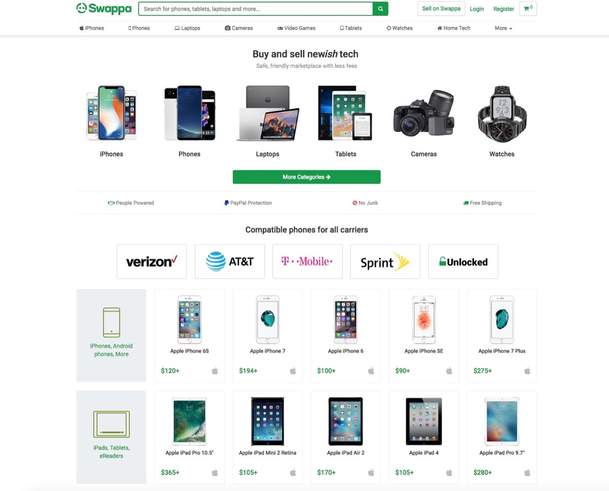 Screenshot of Swappa Website {Save Money on Electronics}