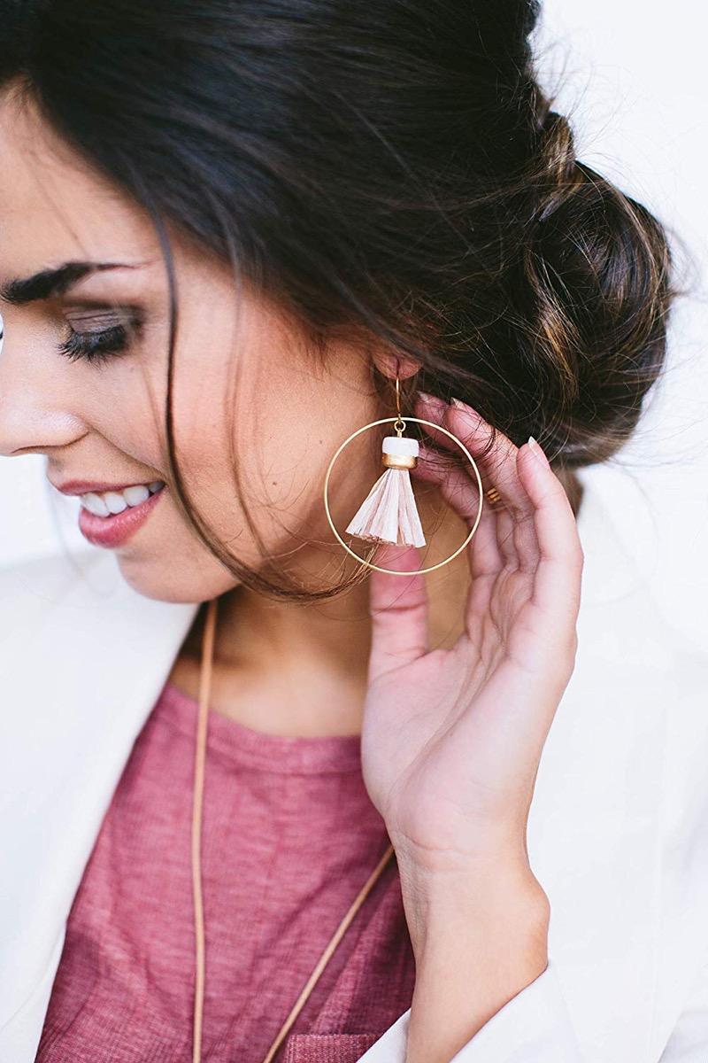 Tassel and Hoop Earrings {Handmade Items from Amazon}