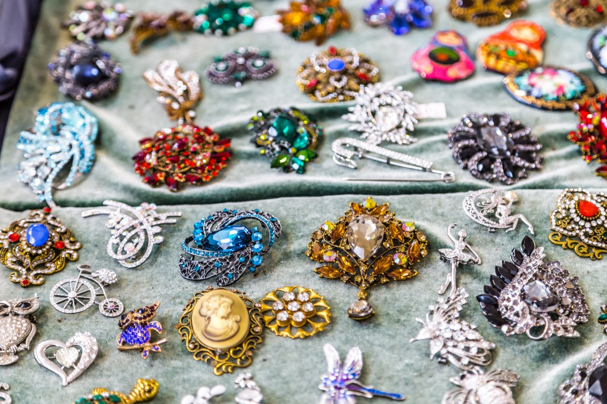 CESENA (FC), ITALY - SEPTEMBER 16, 2018: lights enlightening vintage jewellery at antiques fair in Cesena - Image