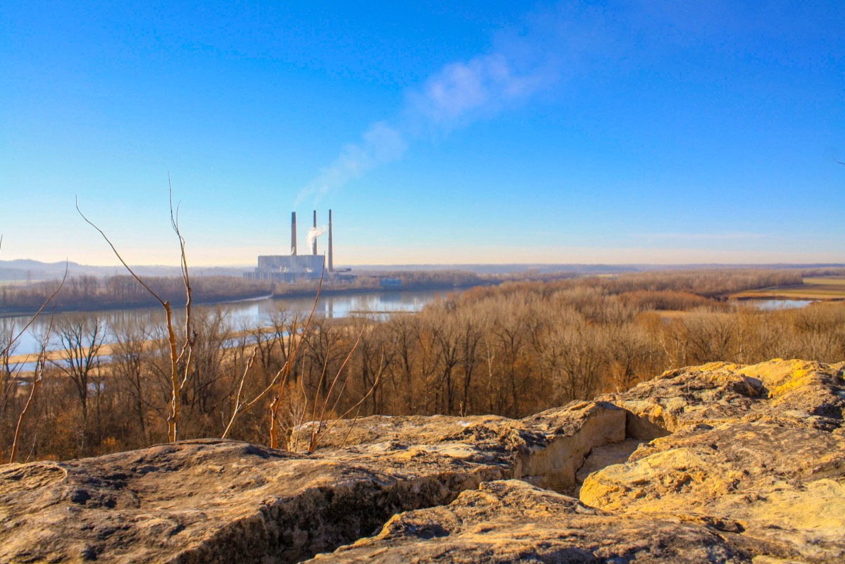 Rocky Bluff over Missouri River at Klondike Park in Weldon Springs Missouri - Image