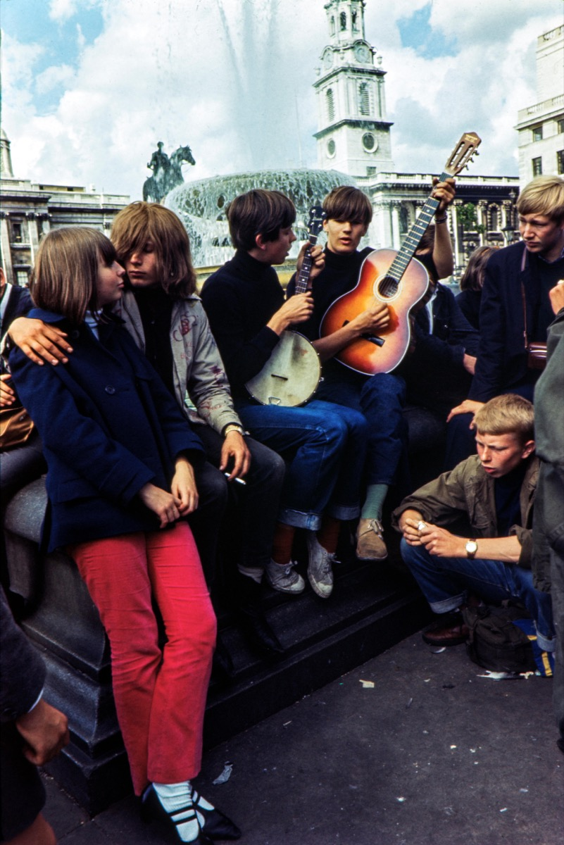 1960s hippies gather in London's Trafalgar Square, cool grandparents