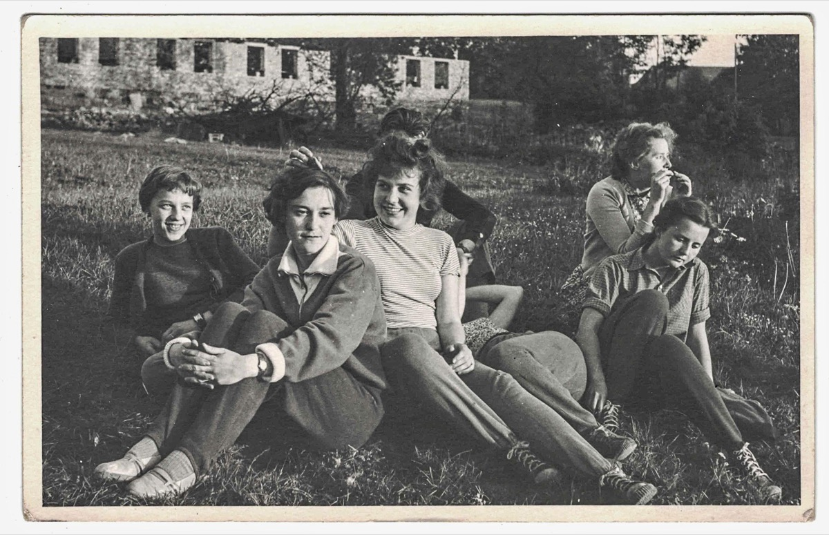 1960s teens relax in meadow, cool grandparents