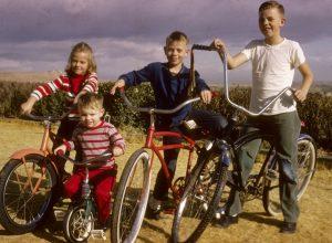 1960s kids on bikes