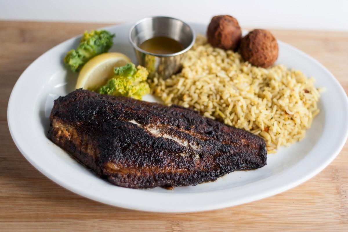 Blackened catfish and rice plate
