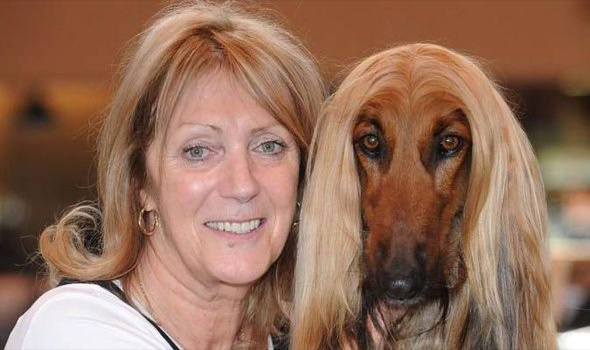 Blonde woman with straight hair matches hair of brown dog, dog and owner twins