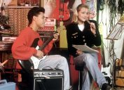 teenage couple playing a song together in the 1980s