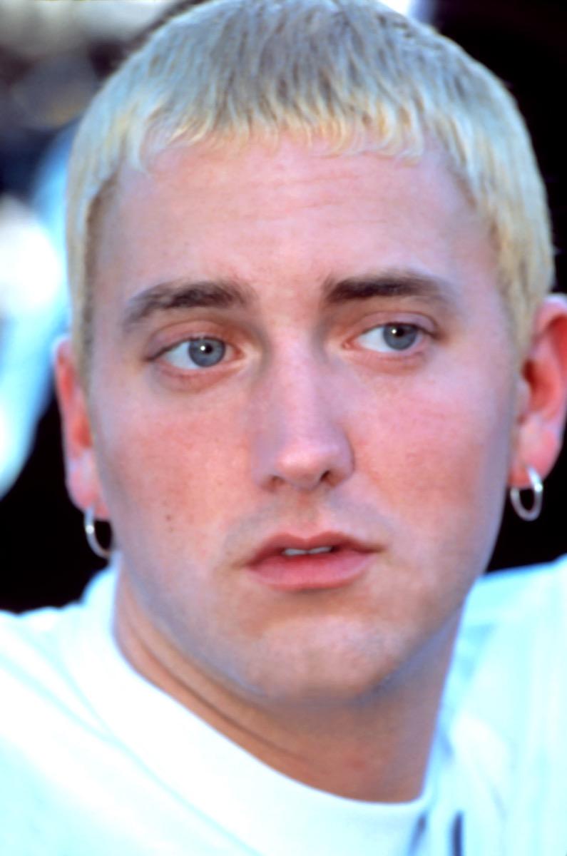 Eminem in white t-shirt at 1999 Source Awards