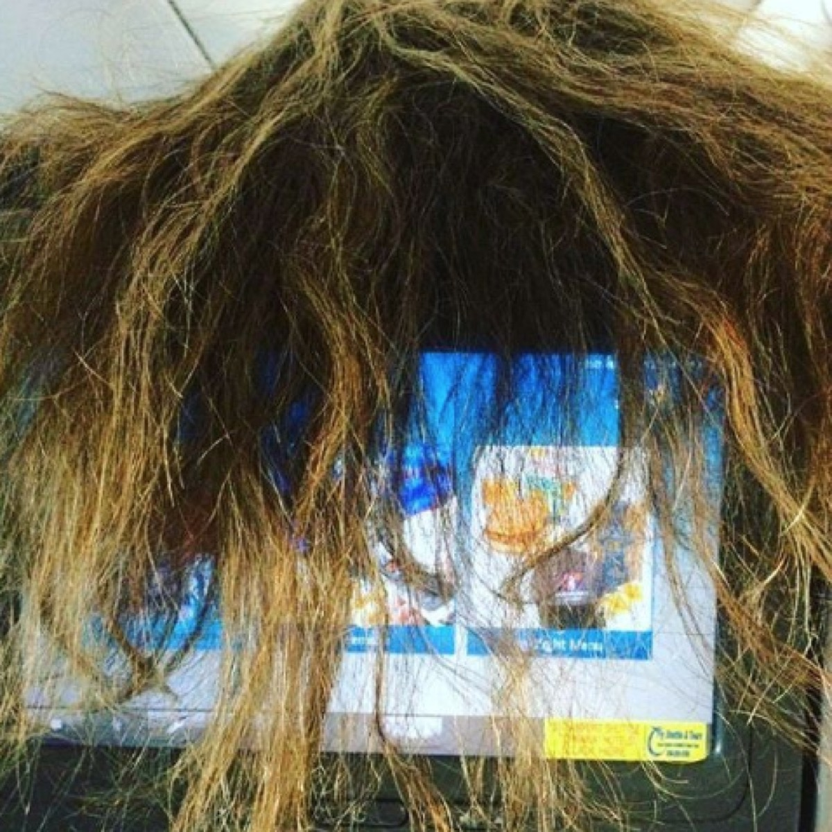Woman's Hair Covers Screen On Airplane Seat, Example of Terrible Airplane Passengers