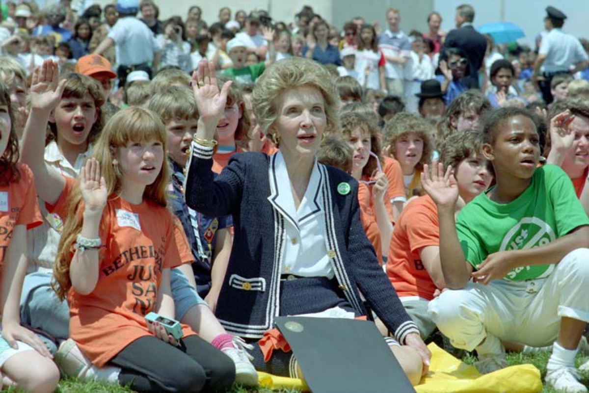 """""""Nancy Reagan with children taking part in a 'Just Say No' walk at the Washington Monument. 5/11/88."""" Photo caption is from a Nancy Reagan page on the Ronald Reagan Presidential Library website."""