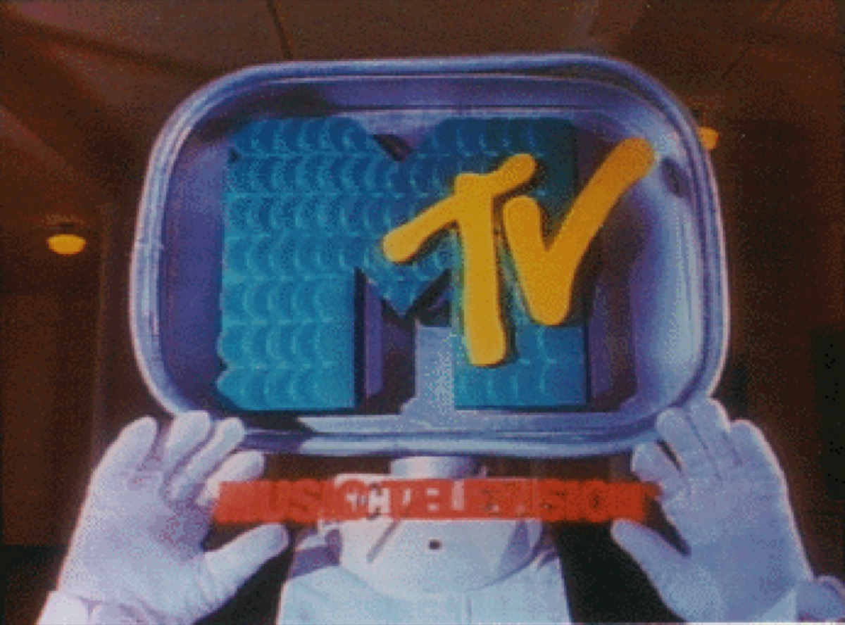 """Description This is a logo for MTV. Further details: MTV station ID from 1987, used for illustration of station IDs, to help explain this text: """"MTV's innovative station IDs were created by independent animation studios like Colossal Pictures (San Francisco), Broadcast Arts (Washington, D.C.), and Buzzco (New York). The radical MTV logo was designed by tiny New York design firm Manhattan Design (Pat Gorman, Frank Olinsky, and Patty Rogoff)."""