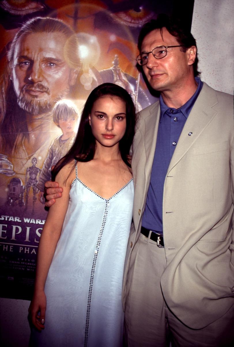 Celebrities Natalie Portman and Liam Neeson at 1999 Star Wars Phantom Menace Event