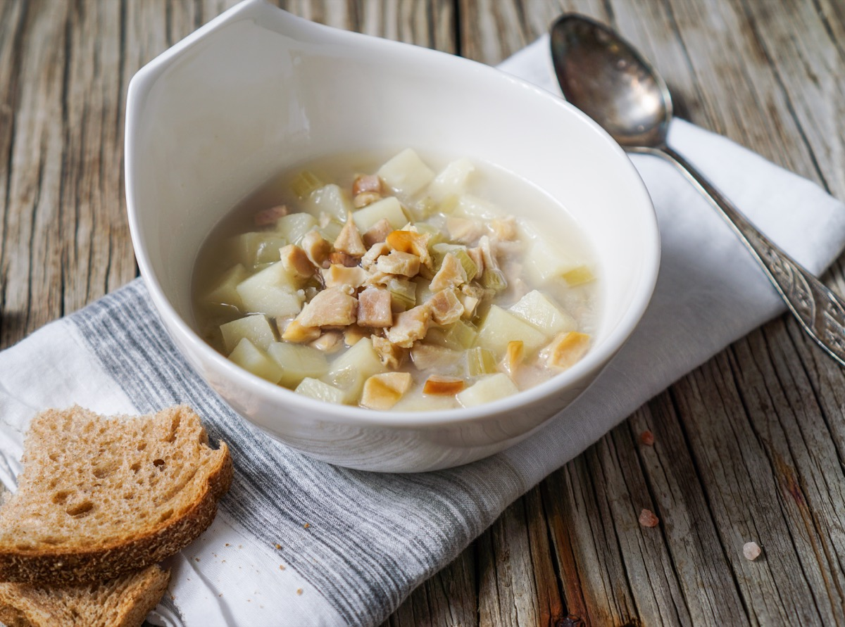 Rhode Island Clam Chowder Soup on Wood Background/ Selective Focus - Image