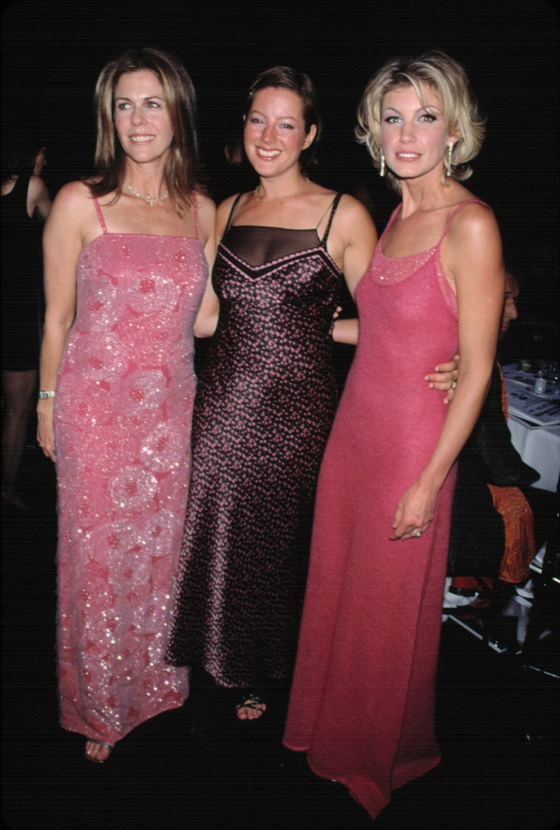 Celebrities Rita Wilson, Sarah McLaughlin, and Faith Hill in long pink gowns at 1999 American Fashion Awards