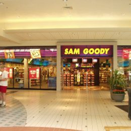 Sam Goody storefront inside a mall, one of the great 1990s stores