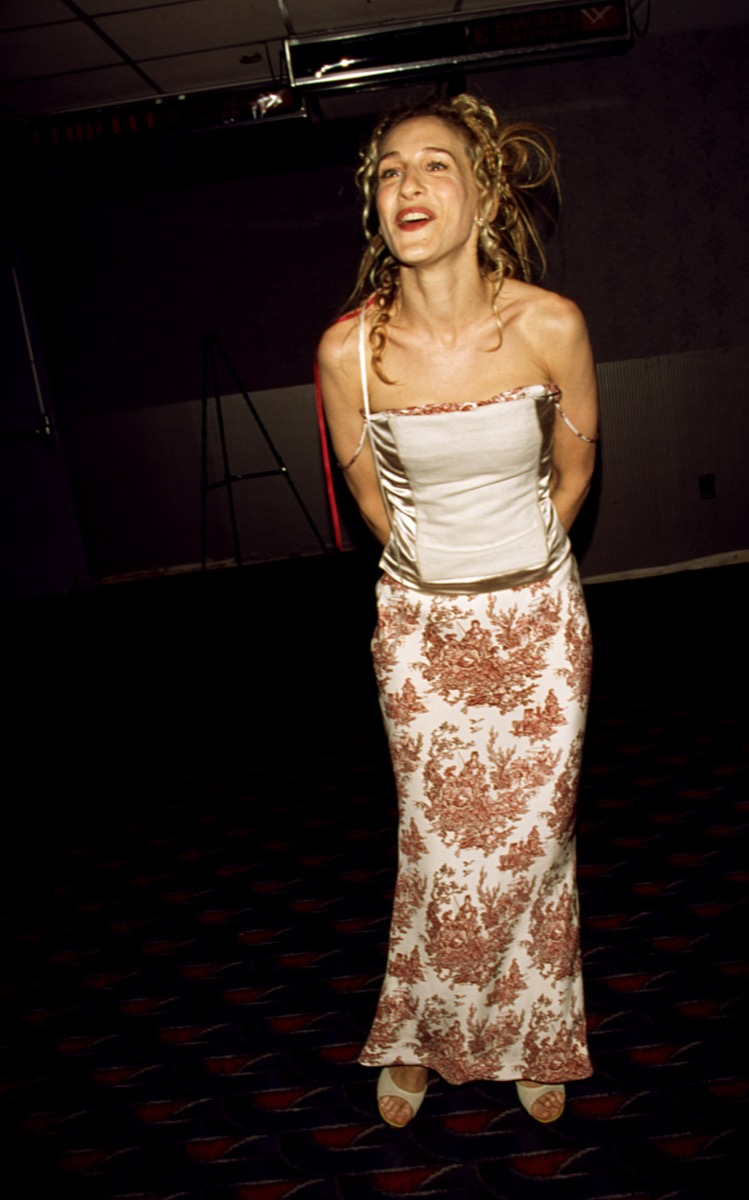 Celebrity Sarah Jessica Parker at the New York preview of Sex and the City in 1998