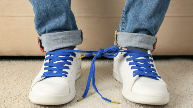 Sneakers tied together