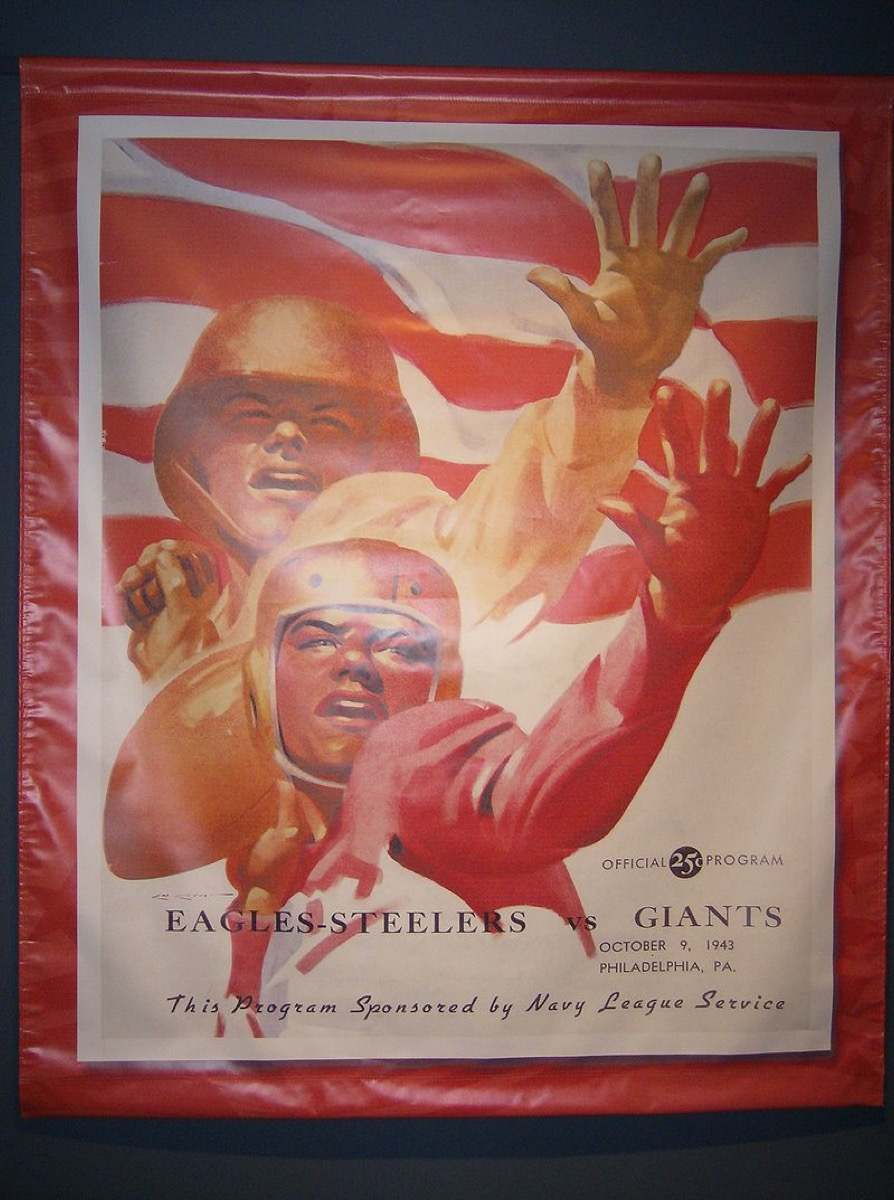 Football Hall of Fame poster for game featuring the eagles-steelers versus the giants, state fact about pennsylvania