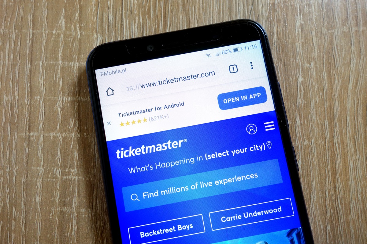 ticketmaster home screen display on smartphone, life before technology