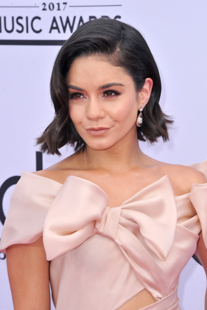 Vanessa Hudgens French Bob Hairstyle with pink bow dress