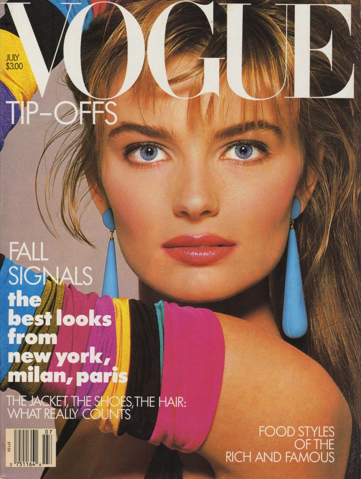 the 1987 cover of vogue with neon covers, 1980s fashion