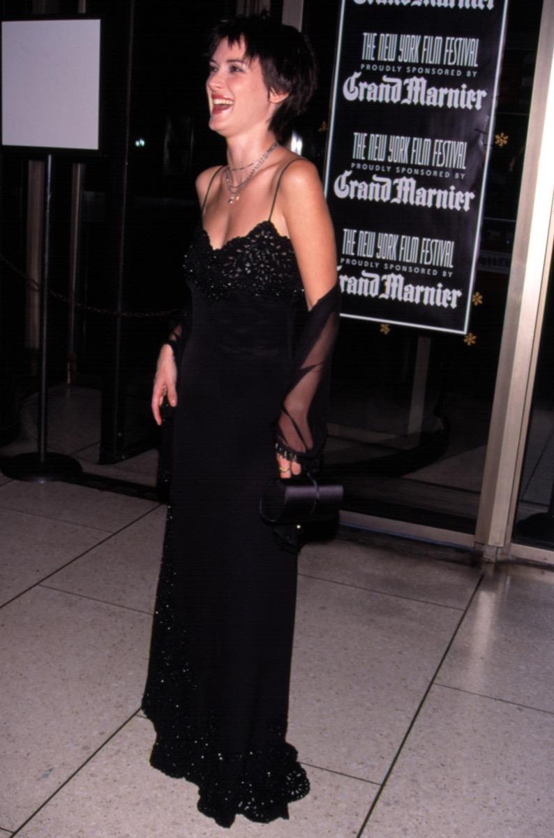 Celebrity Winona Ryder Wears Black Slip Dress To 1998 Premiere of Woody Allen's Celebrity in New York