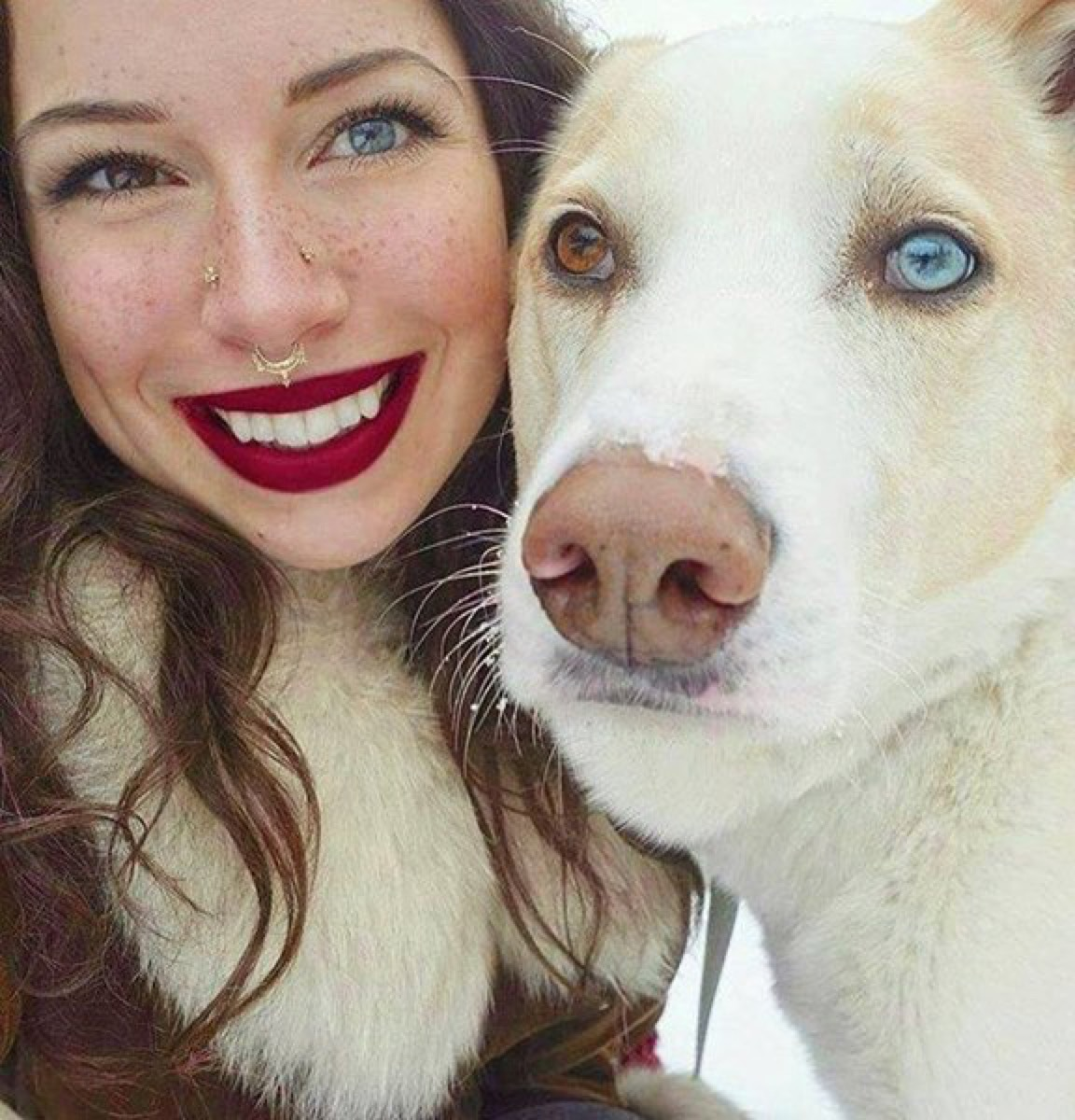 Woman has one blue and one brown eye and so does dog, dog and owner twins
