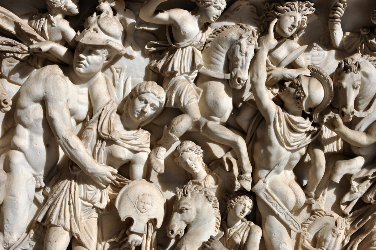 ancient roman sculpture filled with citizens and soldiers, ancient rome facts