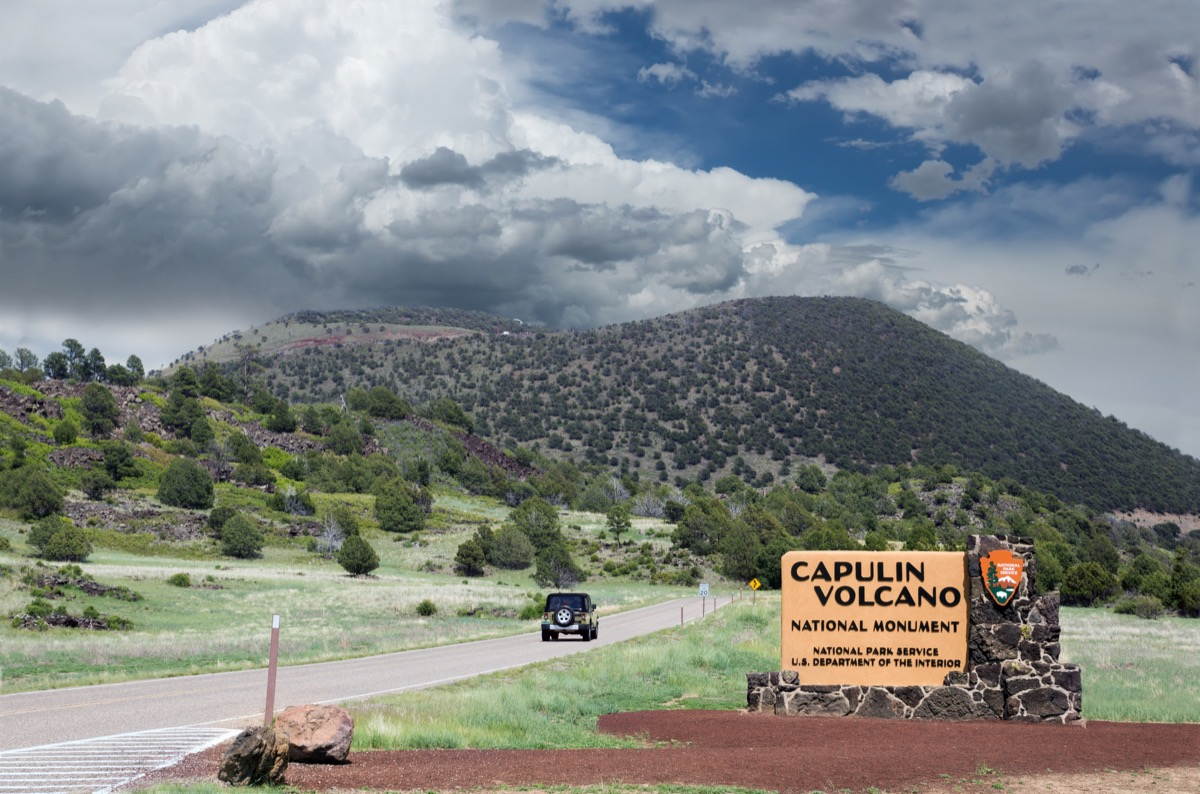 entrance to capulin volcano national monument in new mexico