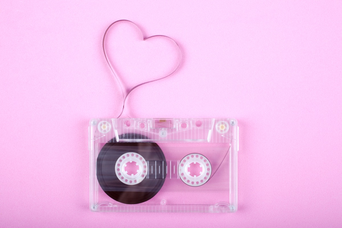 casette tape with heart, most romantic songs