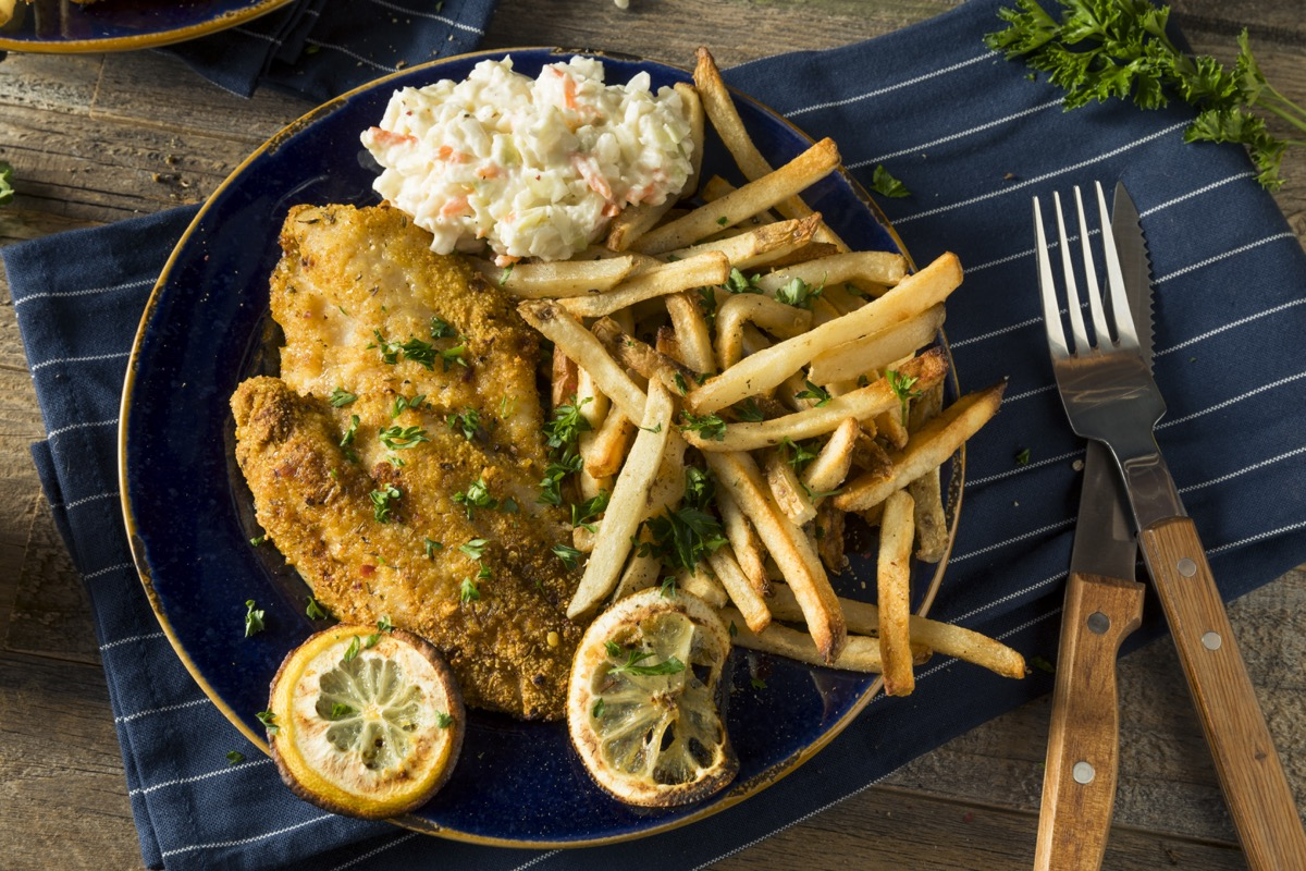 plate of catfish food with fries, hard state facts