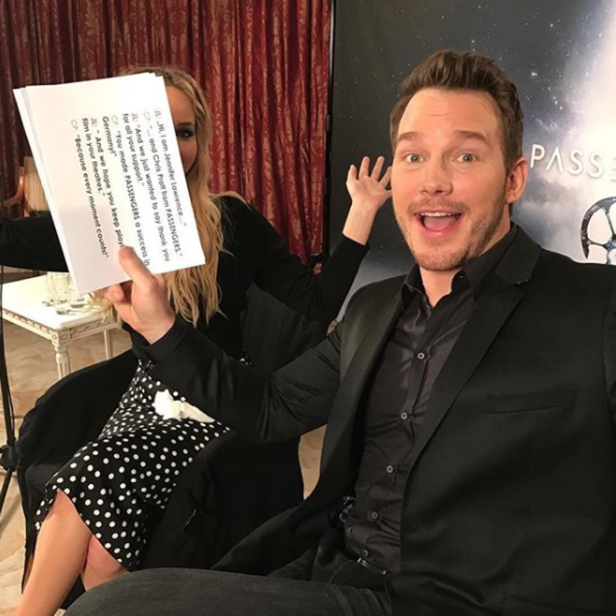 chris pratt prank on jennifer lawrence for media tour, celebrity pranksters