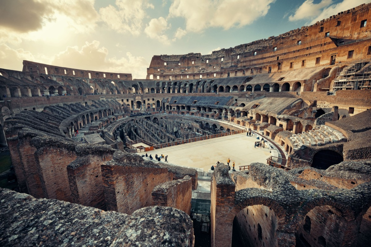 inside view of the colosseum in rome, ancient rome facts