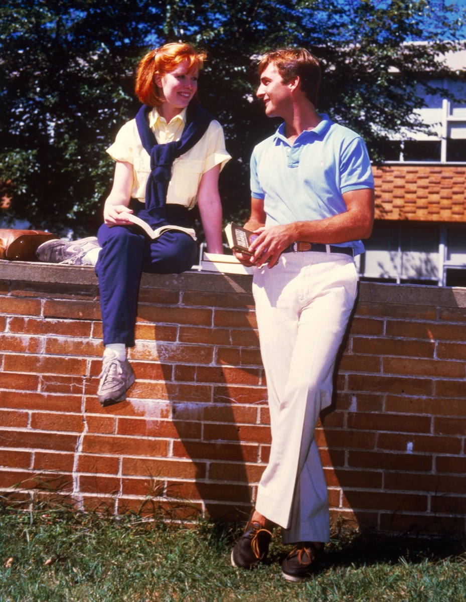 College couple on campus from the 1980's